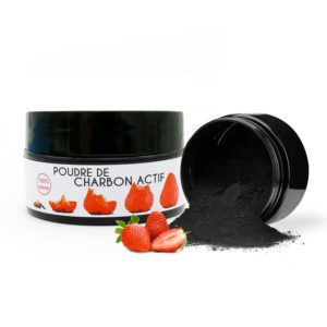 Strawberry-flavoured activated charcoal bleaching powder